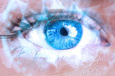 Composite image of close up of female blue eye — Stock Photo