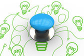 Blue push button against idea graphic — Stockfoto