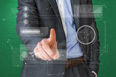 Geschäftsmann zeigte auf schnittstelle — Stockfoto