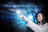 Businesswoman pointing to word mainframe — Stock Photo