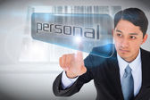 Businessman pointing to word personal — Foto Stock