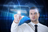 Businessman pointing to word weakness — Stockfoto