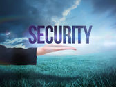 Businesswomans hand presenting the word security — Stock Photo