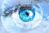 Composite image of close up of female blue eye — Stock Photo