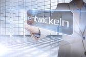 Businessman presenting the word evolve in german — Stockfoto