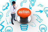 Action against orange push button — Stockfoto