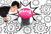 Ping against pink push button — Stock Photo