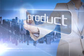 Businesswoman presenting the word product — Stock Photo