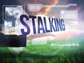 Businesswomans hand presenting the word stalking — Stock Photo