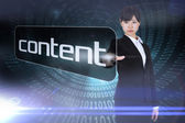 Businesswoman pointing to word content — Stock Photo