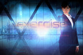 Businesswoman presenting the word exercise — Stockfoto