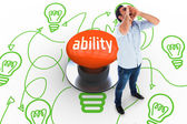 Ability against orange push button — Stockfoto