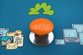 Samengestelde afbeelding van oranje drukknop — Stockfoto