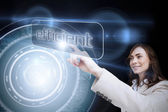 Businesswoman pointing to word efficient — Stock Photo