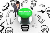 Network against digitally generated green push button — Stock Photo