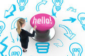 Hello! against pink push button — Stock Photo