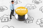 Print against yellow push button — Foto de Stock
