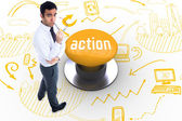 Action against yellow push button — Foto de Stock