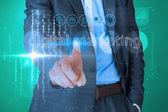 Businessman touching the words digital marketing — Stock Photo