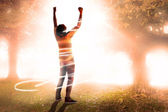 Cheering football fan — Stock Photo