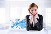 Redhead businesswoman looking unhappy — Stock Photo