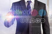 Businessman touching the word network on interface — Stock Photo