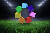 Colourful cubes in circle — Stock Photo