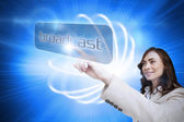 Businesswoman pointing to word broadcast — Stock Photo