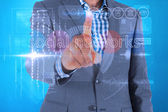 Businessman touching the words social networks — Stock Photo
