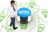 Hotline against blue push button — Stock Photo