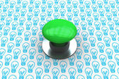 Green push button against light bulb — Stock Photo