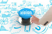 Vision against blue push button — Stock Photo