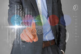 Businessman touching the word solve on interface — Stock Photo
