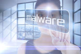 Businesswoman pointing to word malware — Stock Photo