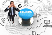 Tweet against blue push button — Stock Photo