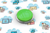 Composite image of digitally generated green push button — Stockfoto