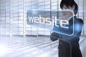 Businesswoman looking at the word website — Foto Stock