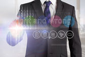 Businessman touching the words right and wrong on interface — Stockfoto