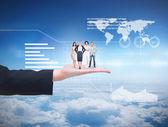 Business team against sky over clouds — Zdjęcie stockowe