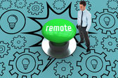Remote against digitally generated green push button — Stock Photo