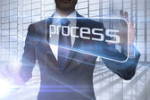 Businessman presenting the word process — Stock Photo
