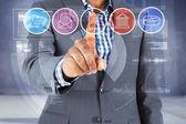 Focused businessman pointing at menu — Stock Photo