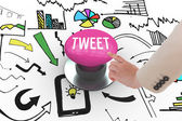 Tweet against pink push button — Stock Photo