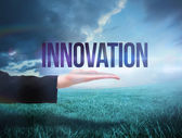 Businesswomans hand presenting the word innovation — Stock Photo