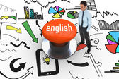 English against orange push button — Stockfoto