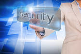 Businesswoman pointing to word security — Stock Photo