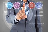 Businessman pointing at menu — Stock Photo