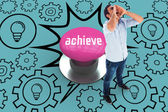 Achieve against pink push button — Stock Photo