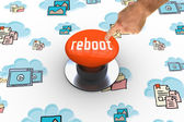 Reboot against orange push button — Stockfoto