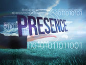Businesswomans hand presenting the word presence — Stock Photo